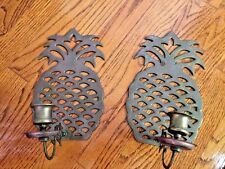Colonial Williamsburg PINEAPPLE BRASS Candelabra WALL MANTLE CANDLE HOLDERS SET