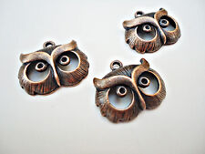Copper Owl Face Pendants / Charms - Set of 3  -- One inch Wide