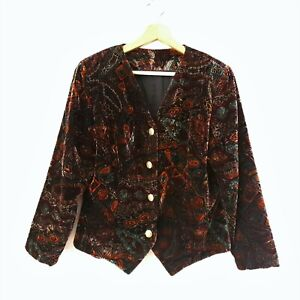 Vintage 80s Size M/12 Autumn Colours Geometric Velvet Collarless Blazer Jacket