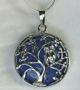 Lapis Lazuli Stone Tree of Life Owl pendant Long snake silver chain necklace UK