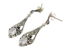 Stunning Victorian Marcasite 925 Sterling Silver Dangle Earrings With Clear CZ