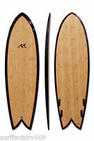 "5'6"" x 21.75"" x 2.38"" Retro Fish Bamboo Stringerless Quad Shortboard Surfboard"