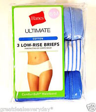 NEW~HANES Ultimate LOW - RISE BRIEFS (3) PACK SIZE 6/M  100% Cotton~Retail $21