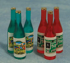 1/12 Streets Ahead Dolls House Pack of 6 Red and Green Wine/Juice Bottles D025