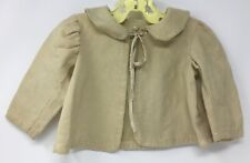 Vintage Flannel Tan Baby Doll Bed Jacket With Embroidery Cotton Flannel