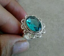 NATURAL AQUAMARINE 925 STERLING SILVER RING SIZE 7 HANDMADE JEWELRY