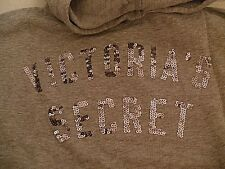 VICTORIA'S SECRET Gray Hoodie w/Sequined Wings/Front,VS on Back,Loose Fit,Medium