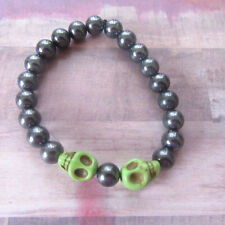 Back to Back Green Skull Beaded Stretch Bracelet with Heavy Metal Beads