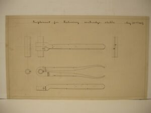 Rare Drawing 1887 Implement for Reducing Cartridge Shell from Winchester factory