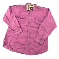 Vintage Eddie Bauer Men's Medium Rufton Twill Pink Button Shirt Long Sleeve