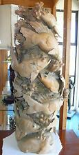 Wooden Statue Sculpture Hand Carved Koi Fish Swimming Schooling Wood 35x19 Art