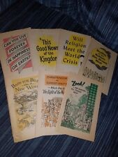 7 Watchtower Booklet Lot -Two Color 1950's Booklets Watchtower Great Deal!