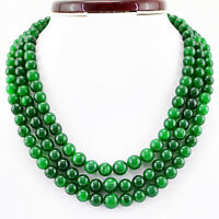 924.00 CTS EARTH MINED RICH GREEN EMERALD 3 STRAND ROUND SHAPE BEADS NECKLACE