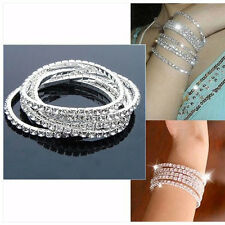 Brand New1 Row Crystal  Bracelet Elastic  Fashion Lady 's Lucky Bangle Top Sales