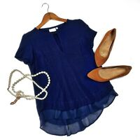 Anthropologie Deletta Soledad Top Small Navy Blue Chiffon Trim Keyhole Blouse