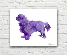 Cavalier King Charles Spaniel Abstract Watercolor Painting Art Print by DJR