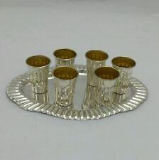 Solid Silver Sterling 925 6x shot cups & tray liquor l'chayim, lechayim, lehayim