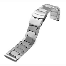 24mm Sliver Stainless Steel Wrist Watch Band Strap With 2 x Spring Bars Men Gift