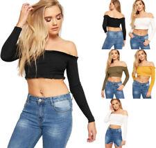 Long Sleeve Boho Cropped Tops & Shirts for Women