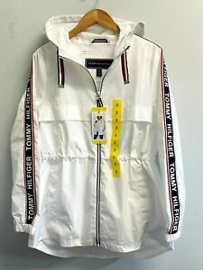 NEW Tommy Hilfiger Ladies M,L,XXL Long Windbreaker Logo Hooded Rain Jacket White