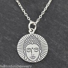 Buddha Charm Necklace - 925 Sterling Silver - NEW Buddhism Religious Pendant