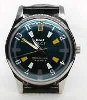 Vintage HMT Pilot Mechanical Hand Winding 17J Green Dial Men Wrist Watch AB035