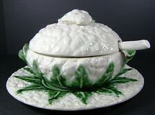 Cauliflower Soup Tureen w/ Underplate Ladle Ceramic Majolica Pottery Portugal