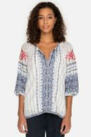 Johnny Was Shea Peasant Blouse L White Floral Embroidered Top NWT #W139185🌸