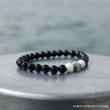 Beaded Bracelet Semi Precious Stone - Black Onyx w/ Clam White