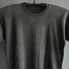 Black Faded Blank Cotton Thin Single Stitched Vtg T Shirt Worn Thrashed 23x26