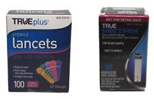 True Metrix Blood Glucose Test Strips 50Ct and TruePlus Lancets 33G, Exp 2020 O
