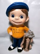 Vintage 1970s Ready To Paint Pottery Mold YOUNG BOY GOLFER CADDY Signed 1993 USA