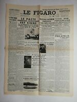 N835 La Une Du Journal Le Figaro 24 août 1939 pacte Germano soviétique signé