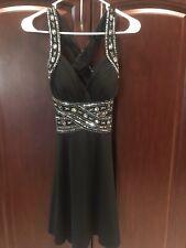 Sleeveless Little Black Homecoming Dance Dress Short Silver Jeweled Size Small