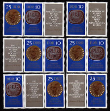 DDR 1592-93, 25 Jahre Kulturbund, 6 Zsammendrucke Kpl.**