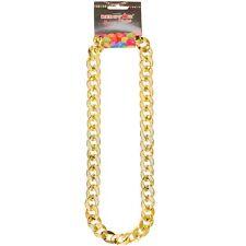 Gold Gangster Chain Chav Necklace Hip Hop Rapper Pimp Fancy Dress Accessory