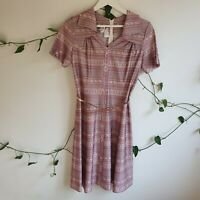 Vtg 50s Mauve Purple Floral Stripe Shape Mixed Print A-line Dress M + Belt Boho