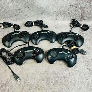 Lot of 5 Sega Genesis Controllers Black Working