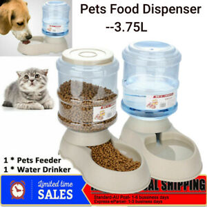 Automatic Water/Food Pet Dog Cat Puppy Dispenser Self Feeder Bowl Bottle 3.75L S