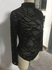 Women Long Sleeves Leotard Top Blouse Black Sheer Mesh Bodysuit Lingerie
