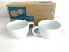 New Pampered Chef Simple Additions Oversized White Coffee Cups/Mugs  #1976 Set 2