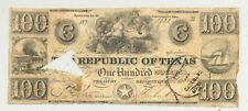 Rare $100 redback banknote issued by the Republic of Texas on Oct. 11, 1839 COC