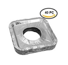 40 pcs Aluminum Foil Square Gas Burner Disposable Bib Liners Stove Covers