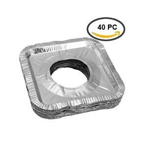 40 pcs Aluminum Foil Square Gas Burner Disposable Bib Liners Stove Covers
