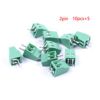 50 x Screw Terminal Block 2.54mm Pitch 2 - PIN PCB Mount 2 ways Connector Green