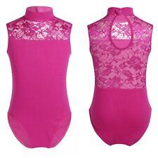 Pink Leotard.7-16 Years Gymnastic Dancewear UK Lace Turtle Neck Ballet Dance