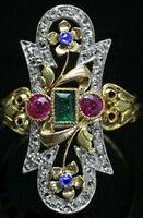 1.46ct ROSE CUT DIAMOND EMERALD RUBY SAPPHIRE VICTORIAN 925 SILVER COCKTAIL RING