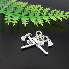 60pcs Vintage Silver Alloy Cross Ax Charms Pendant Necklace Jewelry Making