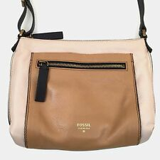 Fossil Cream, Tan & Brown Vickery Leather Zippered Crossbody Shoulder Bag