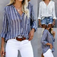Women Long Sleeve Tops Tee Blouse Ladies V Neck Striped Button Down Shirts UK